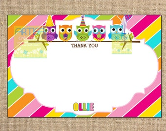 Birthday Owls Thank You Card, Colorful Birthday Owls Thank You Cards, Owls Note Card, Colorful Owls Note Card, Birthday Owls Note Card