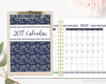 2017 Tribal printable calendar. Bohemian desk calendar. Vertical monthly planner, Letter size, Instant download