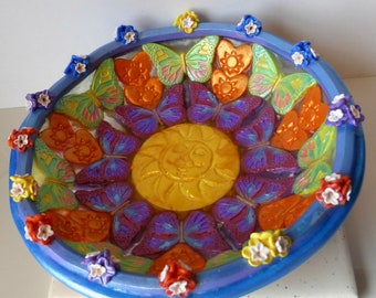 Handmade Trinket Bowl with Sun, Butterflies, Hearts, and Flowers