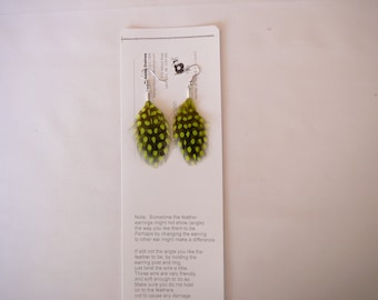 Nat.Guinea Hen  Feather Earings .......Dyed Chartreuse The MyCollection2
