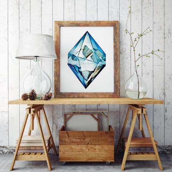 BLUE DIAMOND | Wall art | Archival print | giclee prints | poster art | print wall | prints for sale | artwork | art prints | motivational