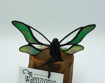 Stained glass fairy on wood base / Feary figurine / Pixie / green iridescent glass/