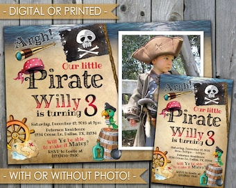 Pirate Invitation, Pirate Birthday Invitation, Pirate Invite, Pirate Party Invitation, Digital File or Printed #502