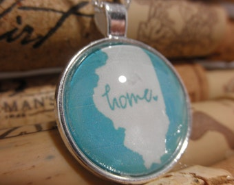 Illinois Home Necklace, Home Illinois Necklace, Illinois Jewelry, State Pride Illinois-blue