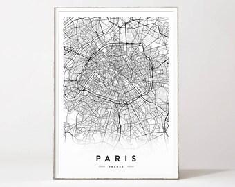 paris city map paris map poster paris map print paris map city posters city map map wall art map prints affiche scandinave paris