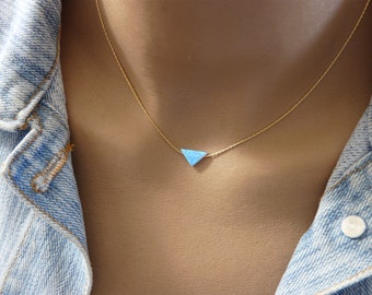 Triangle necklace, Geometric necklace, Minimalist necklace, Triangle opal pendant, Geometric jewelry, Triangle pendant
