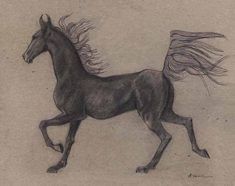 Print of ORIGINAL HORSE DRAWING charcoal drawing, ink pen line art, horse pencil drawing, original pencil drawing, charcoal horse drawing
