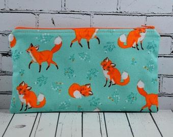 Fox Pencil Case, Fox Small Cosmetic Bag