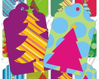 Crazy Christmas trees Tags for scrapbook and more igital collage sheets No.1356