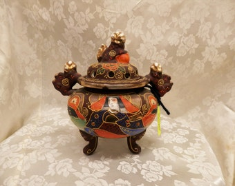 Vintage Japanese Moriage (raised or 3D glaze) Incense Burner and Lid Larger size Foo dogs and Warrior & Bride(?)