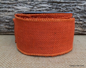 "Burlap Wired Ribbon, 2 1/2"" Orange Natural Jute - TEN YARD Roll - Offray Halloween, Fall, Rustic Craft, Prim Wire Edge Ribbon"