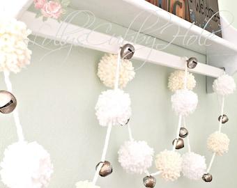 Chunky Pom Pom Garland - White & Ivory Yarn Garland - Holiday Garland - Chunky Pom Poms - Nursery - Baby Shower - Wedding Garland