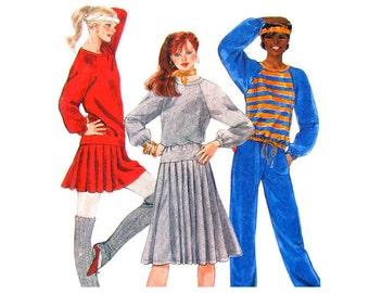 80s Raglan Top, Pleated Skirt, Pants Pattern McCalls 8111 Fitness Wear Junior Teen Size 9 10 Sewing Pattern