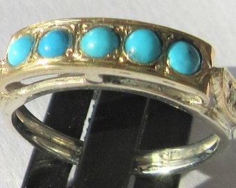 Turquoise, Turquoise Ring, Turquoise Jewelry, Silver Turquoise Ring, Round Turquoise, Turquoise and Diamond Ring, Ladies Turquoise Ring