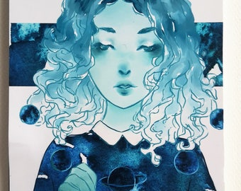 Notebook Sketchbook Galaxy Space Nebula Planets Galaxy Art Cute Girl Anime Art Colorful Artwork Watercolor Art Gift For Artists Art Print