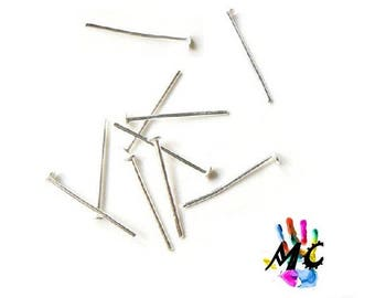 20 flat head pins, silver metal: 1.8 cm