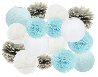 16PCS Boy Baby Shower Decoration Baby Blue Grey White Mixed Tissue Pom Poms Paper Lantern Party Favors Wedding Birthday Paper Decoration