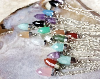 "On Point gemstone necklace - your choice of a dainty natural gemstone spike pendant on a 16"" or 18"" sterling silver satellite chain"