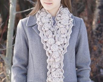 Elegant Rose Scarf, X Long version, handmade scarf in a ivory, handpainted Merino Wool, Crochet Scarf, Rose Scarf