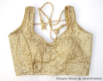 Readymade sequins glitter saree blouse golden, silver, light golden and black color - All Sizes - Saree Top - Sari Top - For Women