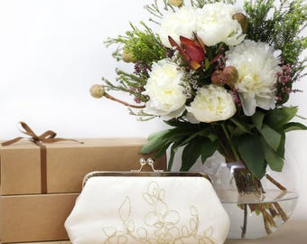 Ivory Bridal Clutch with Gold Thread | Bridesmaid Gift |Bridal Clutch