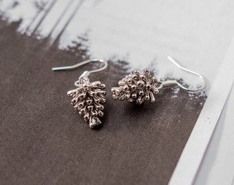 Pine Cone Earrings, Silver Pine Cone Earrings, Silver Drop Earrings, Pine Cone Jewellery, Christmas Jewellery, Christmas Earrings,