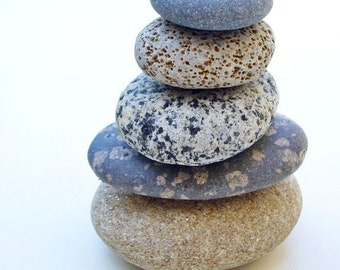 Beach Stones  Photo 5x7 Signed Print Zen Stacked Rocks Wall Art