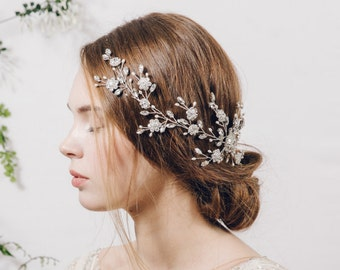 Large hair vine, statement hair vine, bridal hair vine, wedding hair vine, wedding hairvine, crystal hairvine, wildflower hairvine - Sybil