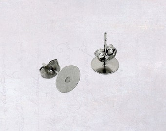 25 x Pairs Stainless Steel 8mm Pad Earring Studs with Backings