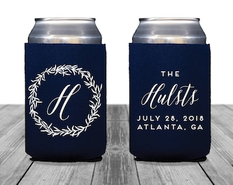 Neoprene Can Coolers, Personalized Coolies, Black Tie Wedding, Custom Hugger, Wedding Can Coolers, Wedding Monogram, Wedding Logo, 1372