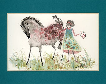 "Horse Art NOTE CARDS: Rita Only Paints Roses on Greys. Print of  My Original Drawing on 4 1/4"" x 5 1/2""  Card with Envelope"