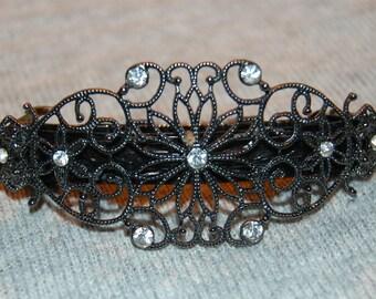 Barrette Hair Clip, Rhinestone Silver Barrette, Clear Dark Silver, Vintage old jewelry