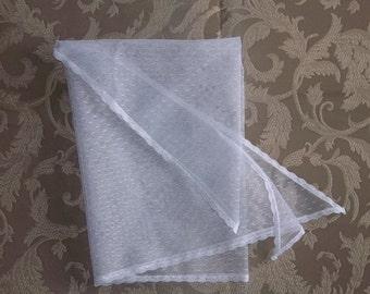 White Fichu- Point d'Esprit Lace Shawl- 2 Sizes Available