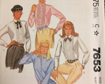 80's McCall's 7753 Misses' Blouse size 12 Bust 34 inches   Complete Sewing Pattern