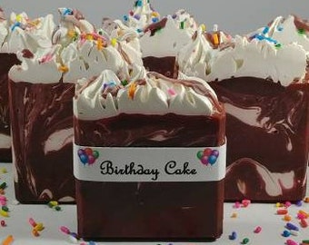 Chocolate Birthday Cake Soap -Custom Wedding/Party Favors
