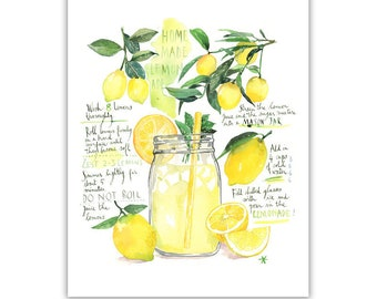 Homemade lemonade recipe art print, Watercolor lemon poster, Yellow kitchen decor, Bright dining room decor, Kitchen wall art, Lemon print