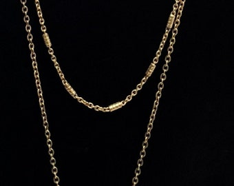 Gold Tusk Double up Necklace