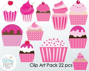 Cupcakes Digital Scrapbooking Clip Art, Buy 2 Get 1 FREE. Instant Download