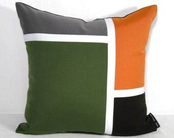 SALE, Decorative Olive Green & Orange Outdoor Pillow Cover, Mid Century Modern Pillow Cover, Masculine Brown Grey Sunbrella Cushion Cover
