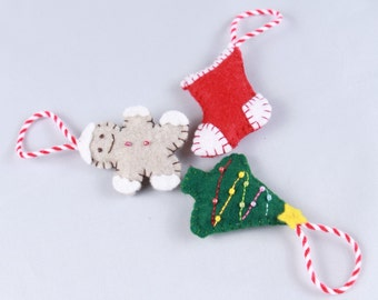 Christmas decoration, felt decoration, Christmas tree, Christmas sock, Gingerbread man, tree decoration, handmade
