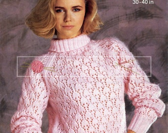 Lady's Lace Sweater 30-40in DK Patons 7529 Vintage Knitting Pattern PDF instant download