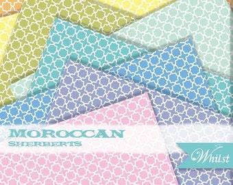 Quatrefoil digital paper blue, geometric digital paper Aqua, modern digital paper pink : b0132A v301 3sSherbert