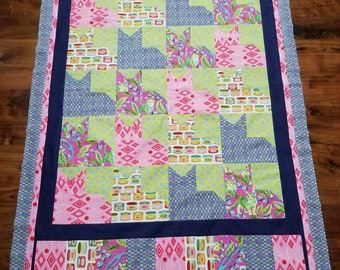 Pieced cat unfinished quilt top in Tula Pink Tabby Fabric 46.25 x 71.5 inches