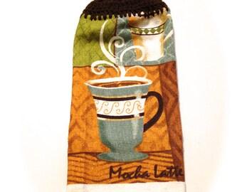 Mokka Latte Handtuch mit Espresso-braun gehäkelt Top