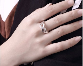 Infinity ring / ring 100% 925 sterling silver set with cubic zirconia diamond color