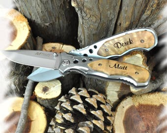 Engraved Pocket Knife ( SET OF 1)  ,Boy scout Knife , Knife Engraving ,Groomsmen Gift ,Camping Knife - Personalized Knife
