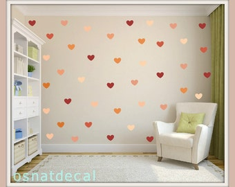 FREE SHIPPING Wall Decal Hearts In Shades Of Orang.136 Hearts. Nursery Wall Decal. Wall Art. Kids Room Wall Decal, Home Decor.Wall Sticker