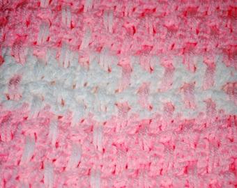 Crochet Lt. Pink and White Blanket