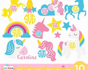 Unicorn SVG File Unicorn Monogram SVG, Unicorn SVG Monogram, Unicorn Party Shirts Decoration Silhouette Cut Files, Cameo Cricut Cut Files