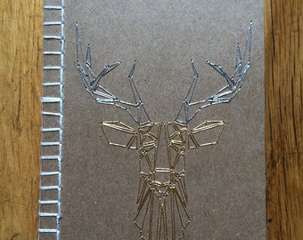 Hand embroidered notebook, Deer head pattern, Gold and Silver colors